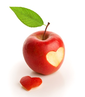 Red apple with cut heart